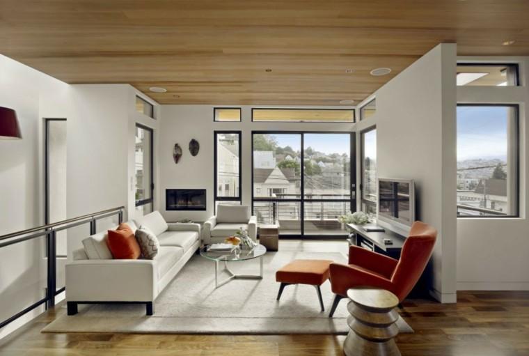 salon estilo moderno techo madera