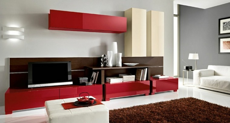 salon estilo moderno gris rojo