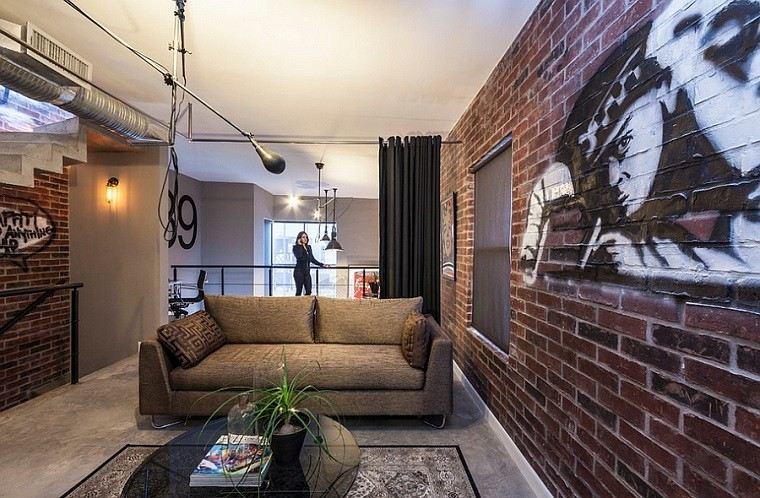 salon pared ladrillo sofa pintado ideas