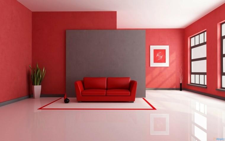 salon color rojo muro gris