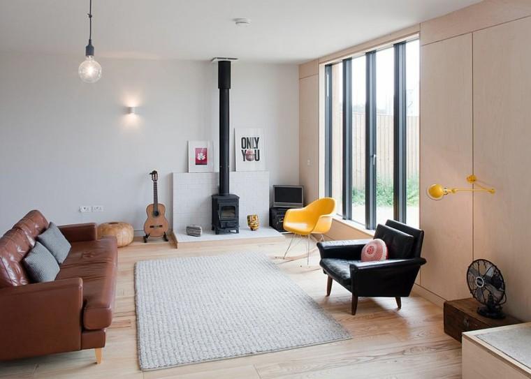 salones de diseño escandinavo amplio sofa cuero ideas