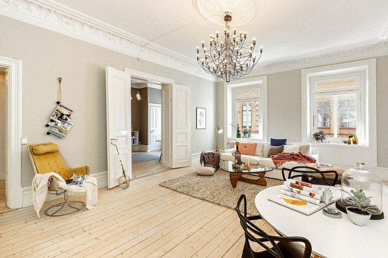salones de diseño escandinavo apartamento colores claros ideas