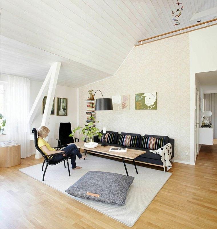salones de diseño escandinavo cojin grande ideas