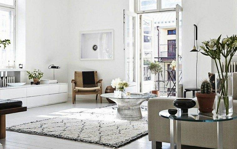 salones de diseño escandinavo mesa cafe cristal ideas