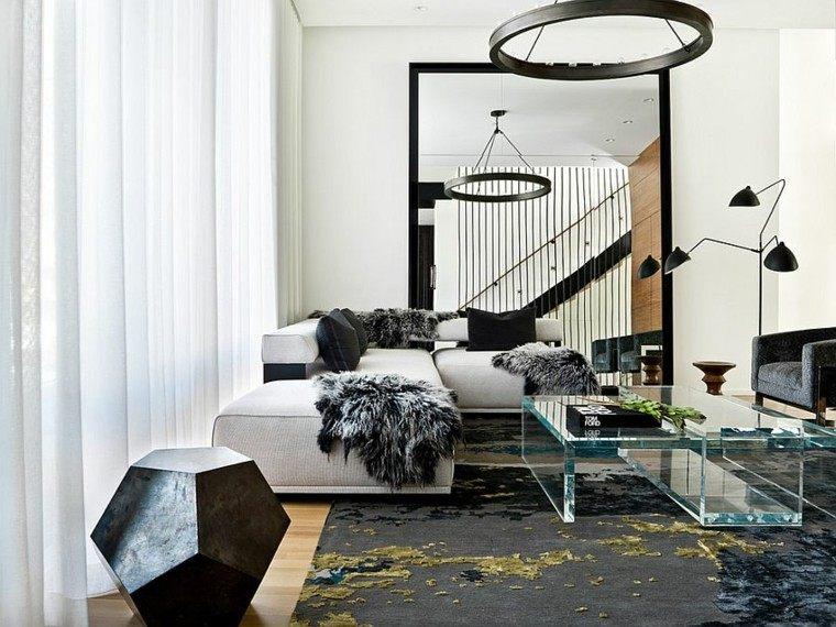salones de diseño escandinavo mesa cristal lujosa ideas