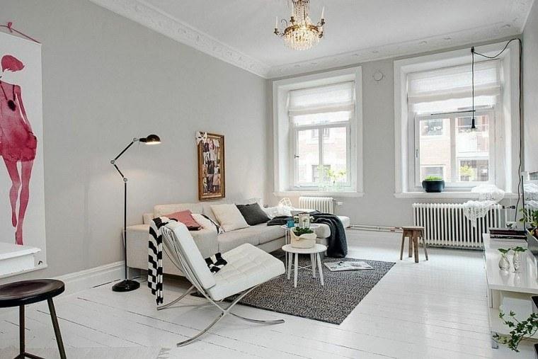 salones de diseño escandinavo muebles blancos ideas