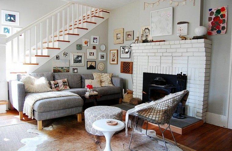 salones de diseño escandinavo sofa taburete precioso ideas