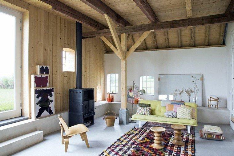 salones de diseño escandinavo sofa verde ideas
