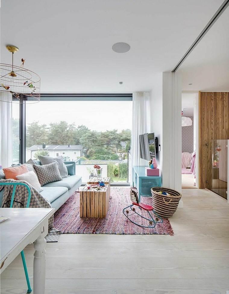 salones diseno escandinavo alfombra colores ideas