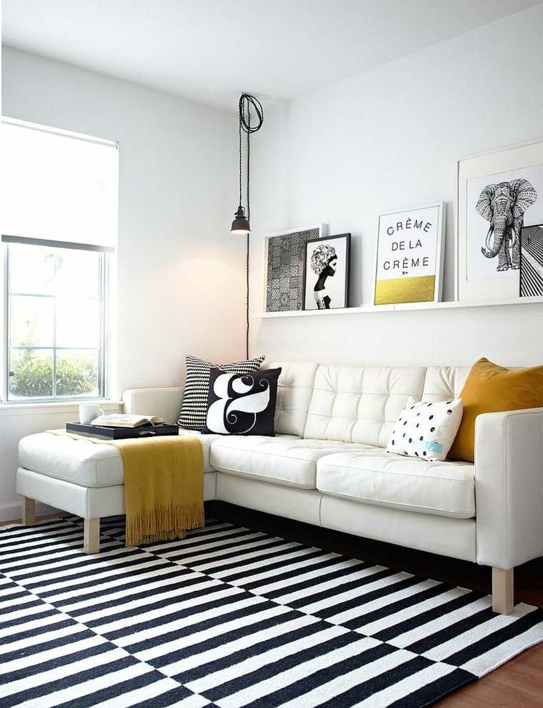 salones diseno escandinavo alfombra rayas ideas
