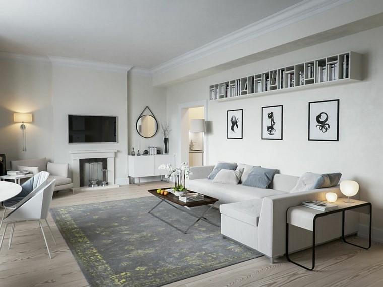 salones diseno escandinavo amplio sofa gris ideas