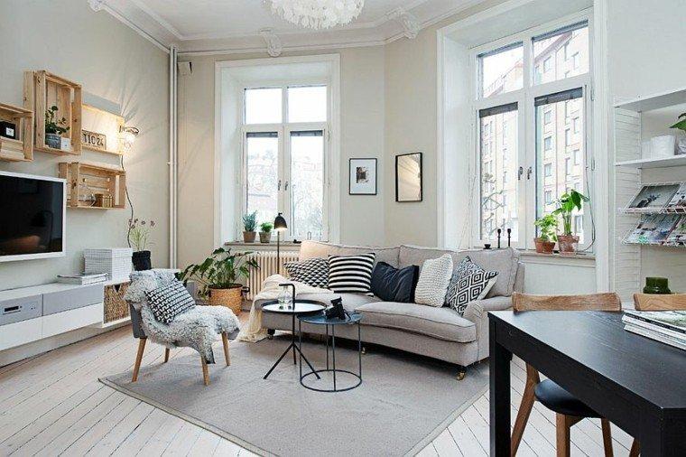 salones diseno escandinavo mesa acero negra ideas