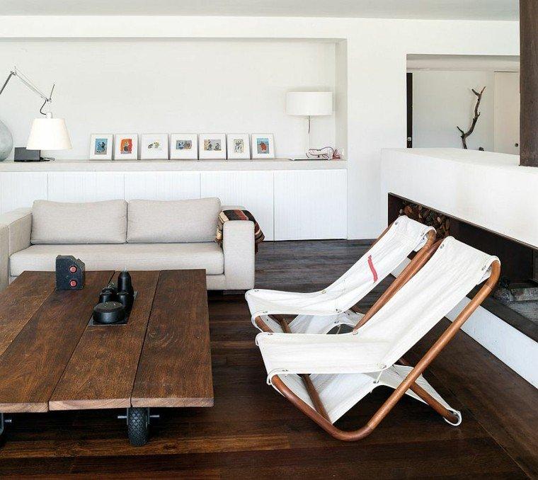 salones diseno escandinavo mesa madera ruedas ideas