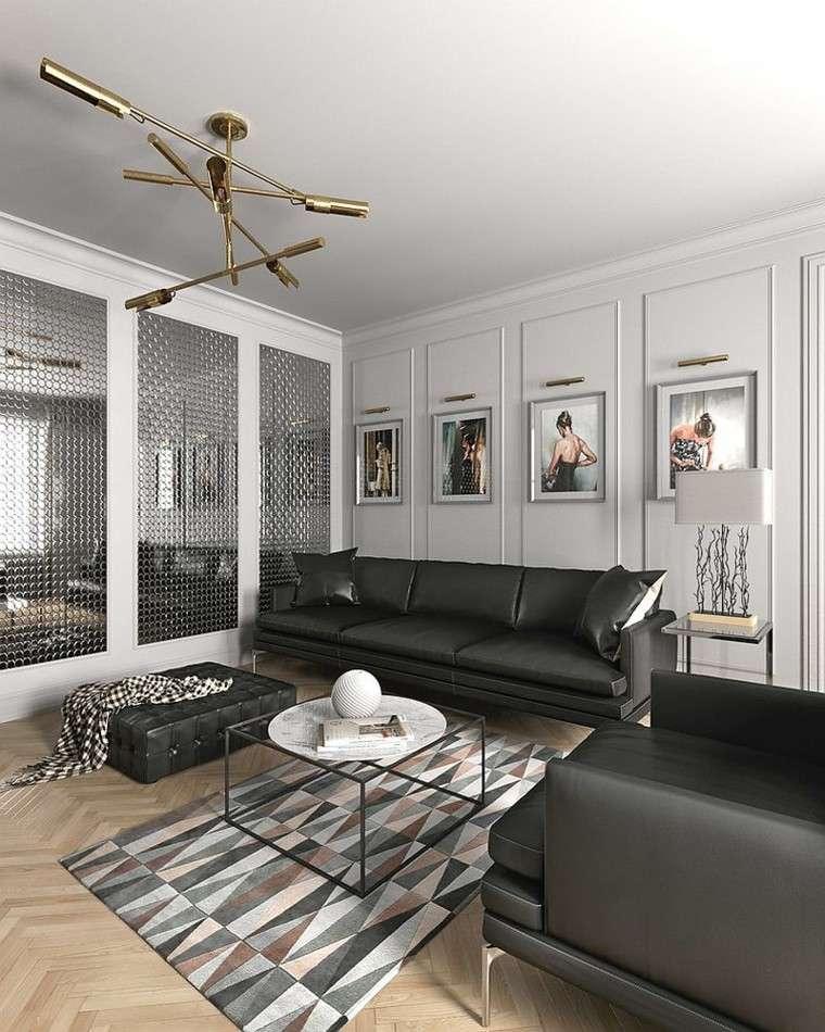 salones diseno escandinavo sofa cuero negro ideas