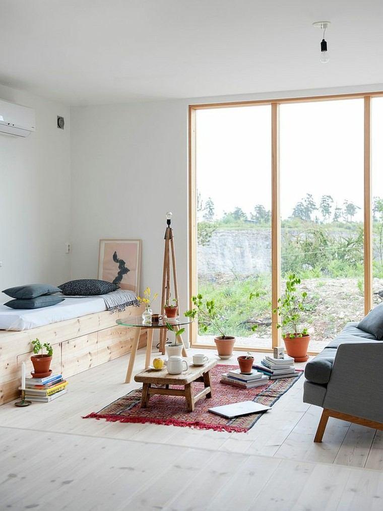 salones diseno escandinavo ventana cristal mesitas originales ideas