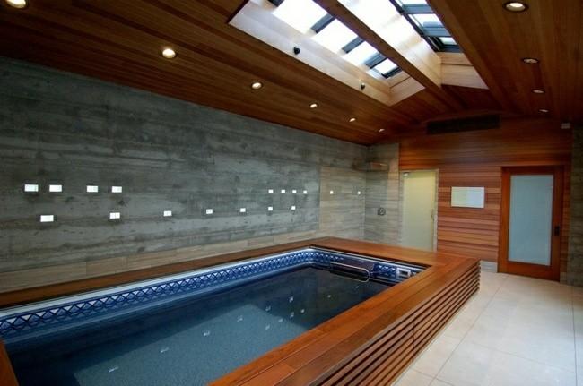 sauna baño piscina revestimiento madera
