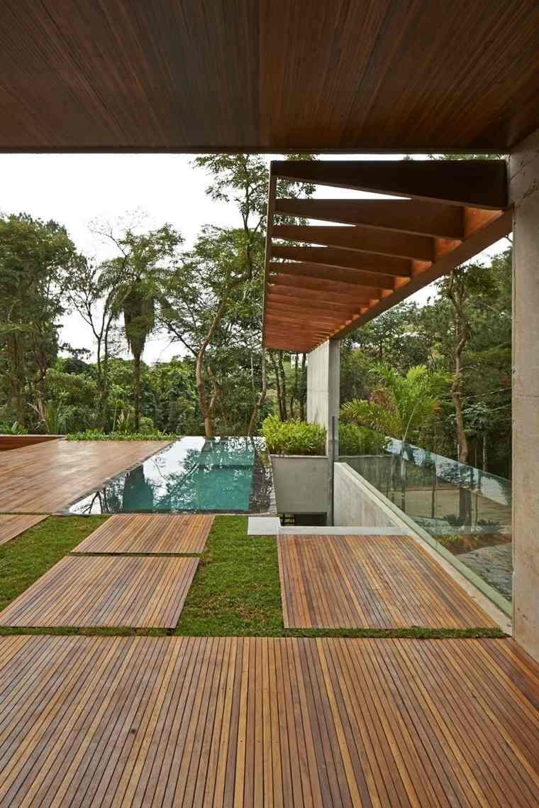 sendero madera casa diseño suelo