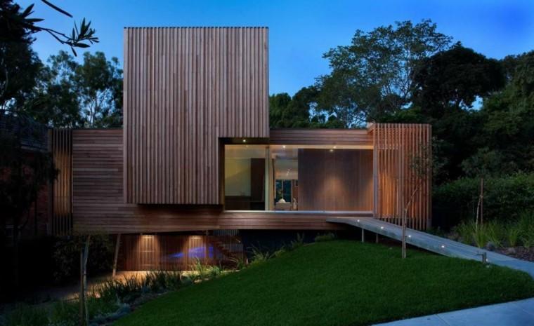 sendero madera casa lujo casa entrada