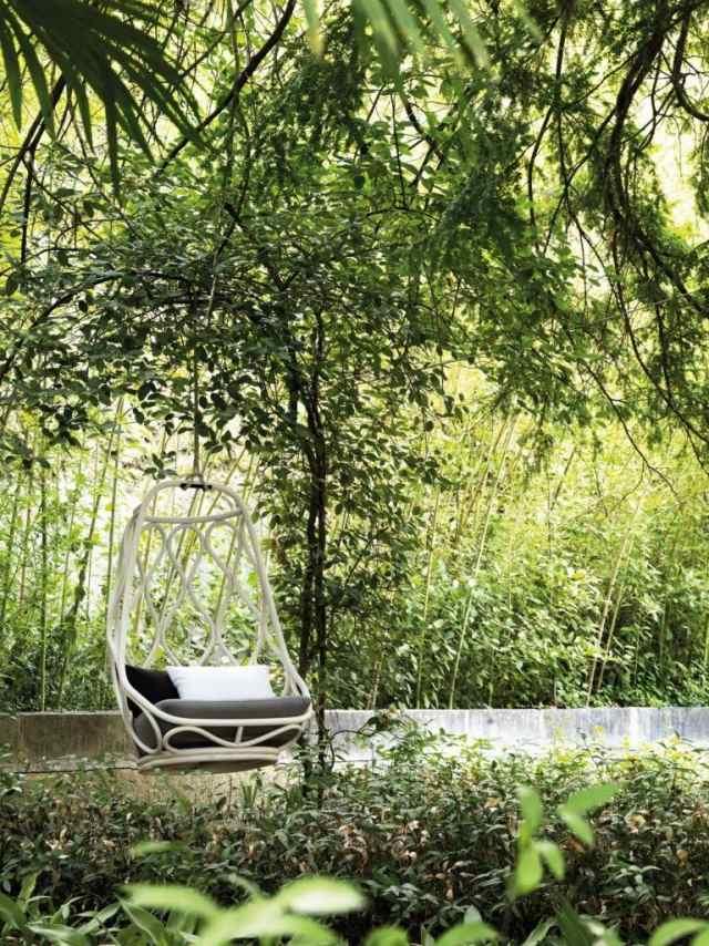 silla colgante blanca nautica jardin