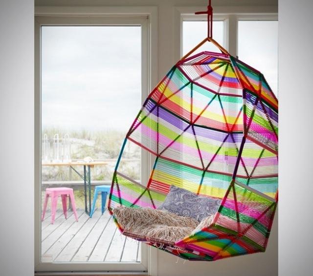 silla colgante muchos colores diseño