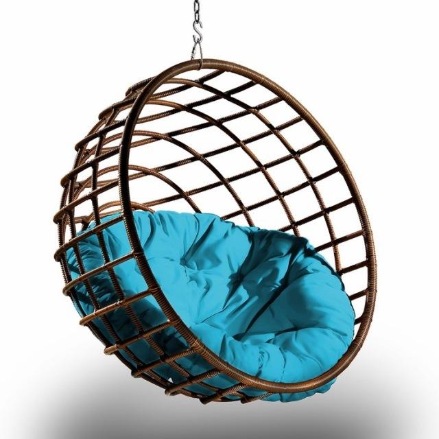 silla mimbre esfera marron redonda
