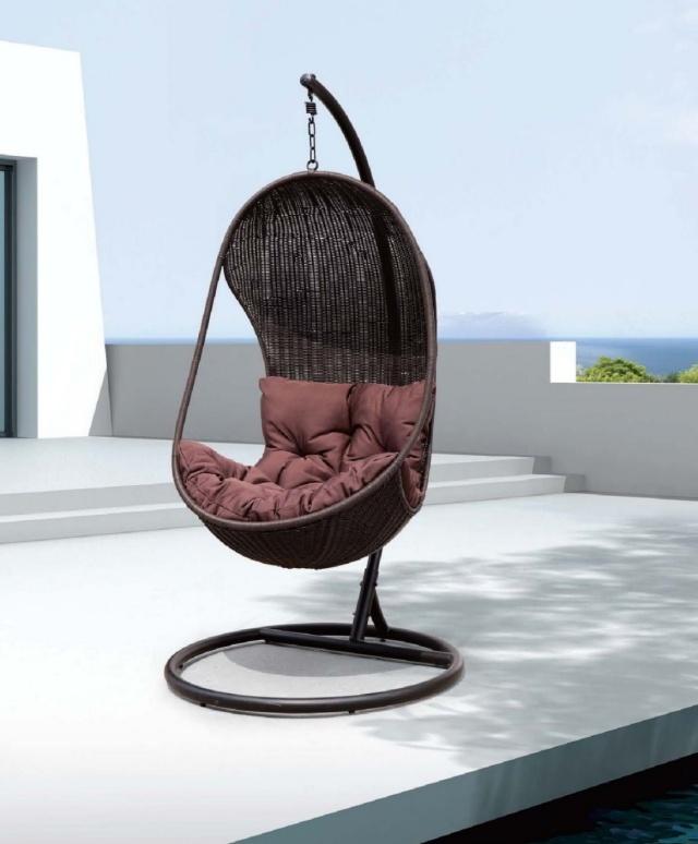 silla forma nido mimbre colgante