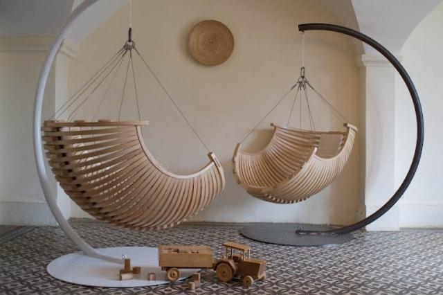 sillas columpios madera colgantes caracolas