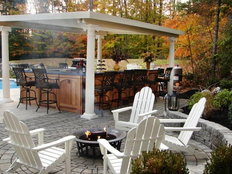sillas teca blancas cocina pergola jardin ideas