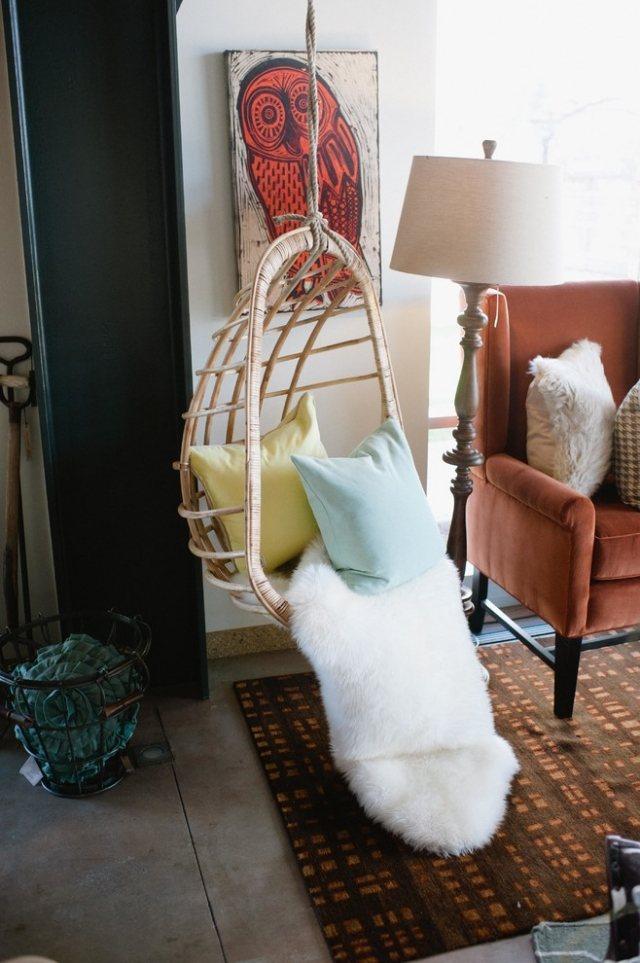sillon colgante cuerda salon cojines