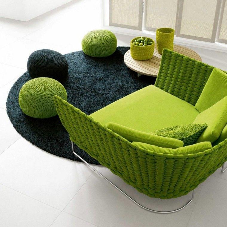 sillon diseño moderno rattan verde