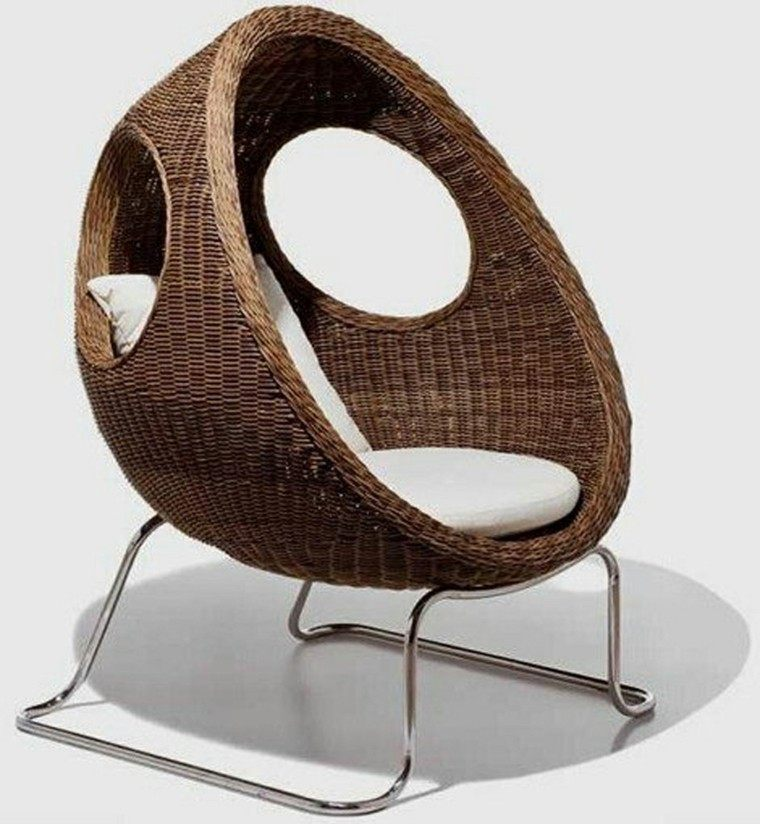 sillon rattan huevo diseño moderno