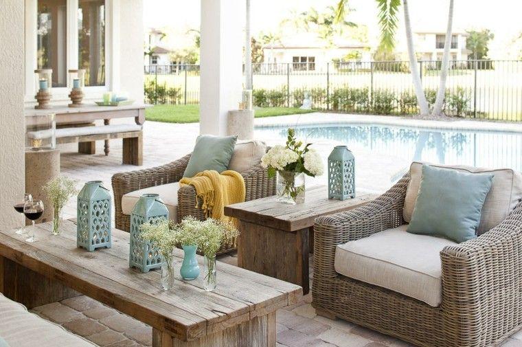 sillones comodos jardin mesa madera decoracion ideas