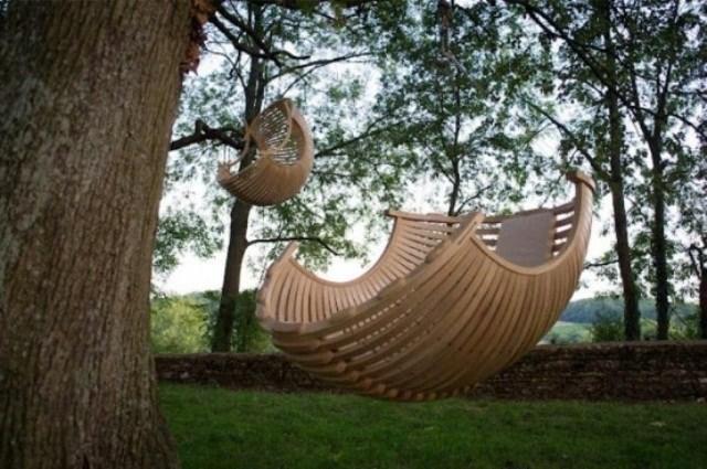 sillon colgante caracola madera