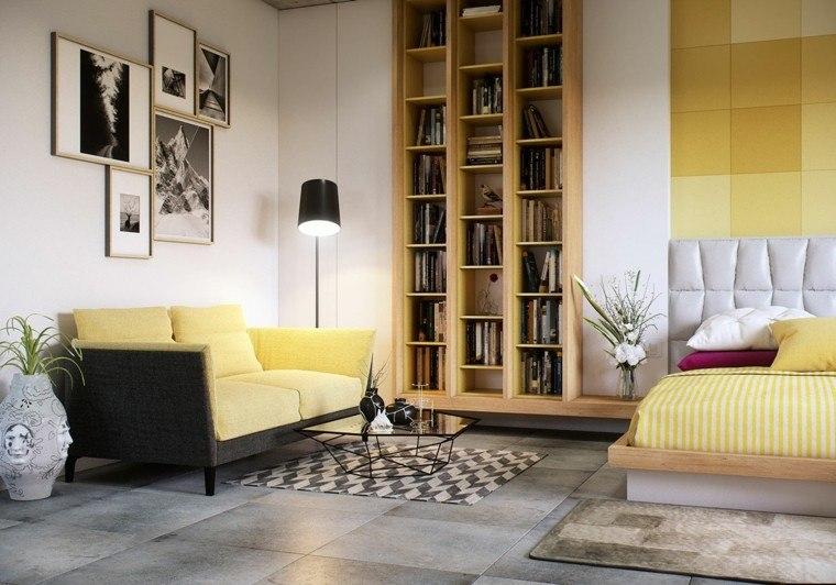 sofa amarillo foto ocho dormitorios de matrimonio