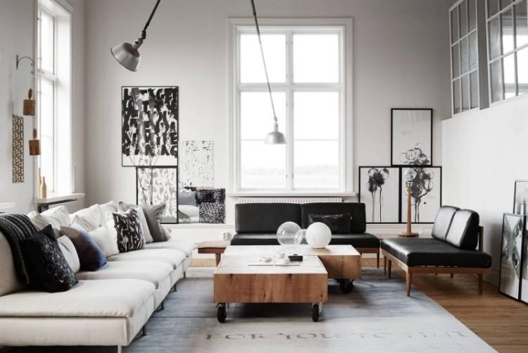 sofa blanca mesa madera ruedas salon amplio ideas