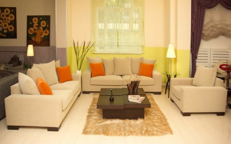 sofa casa color ambiente naranja