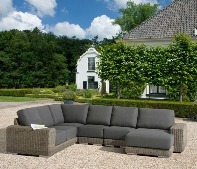 sofa cojines negros comoda exteriores ideas