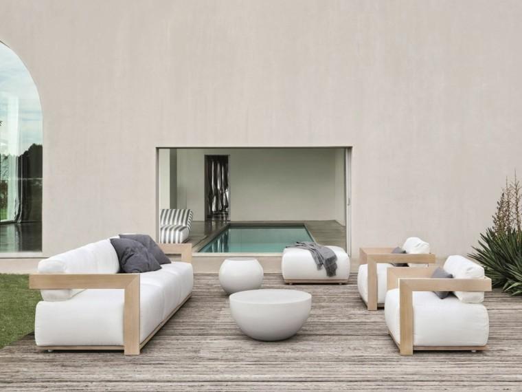 sofa comodo madera cojines blancos ideas