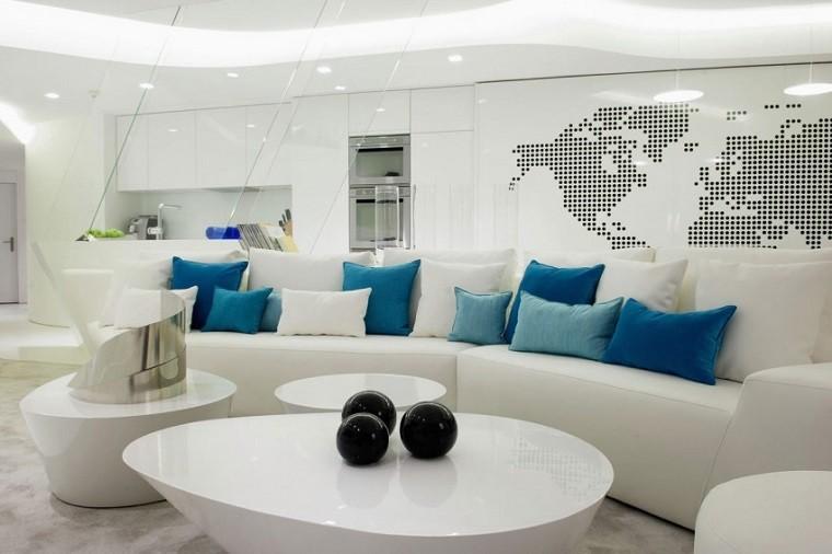 sofa grande cojines azules salon