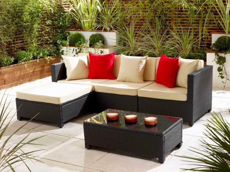 sofa grande ratan jardin plantas ideas