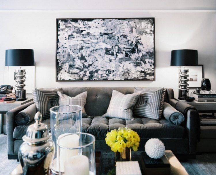 sofa gris cuadro original pared salon moderno ideas