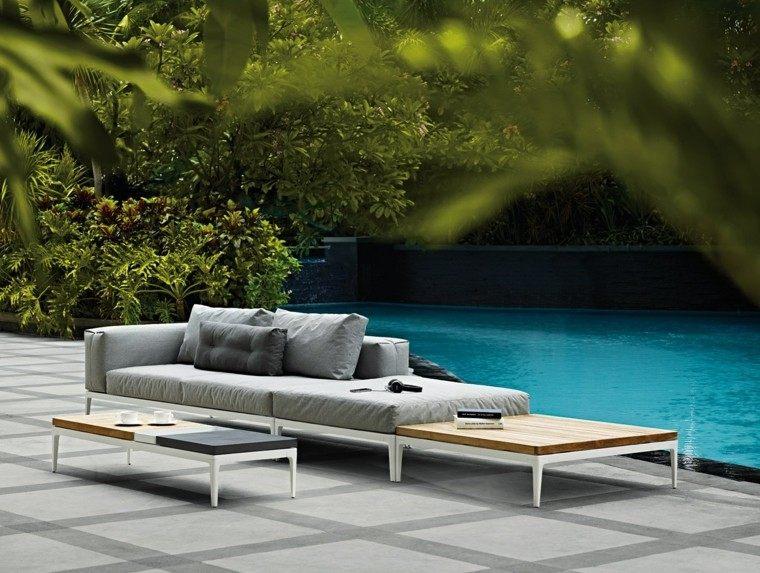sofa gris mesa preciosa jardin piscina ideas