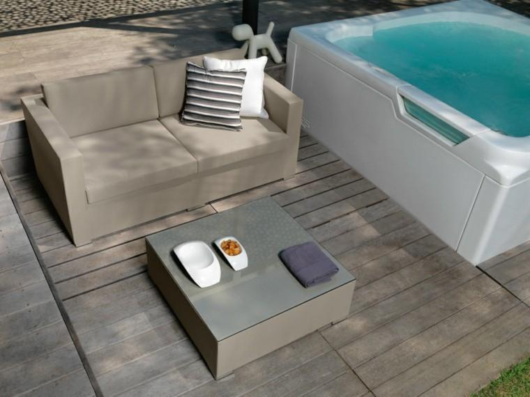 sofa jardin suelo madera jacuzzi ideas