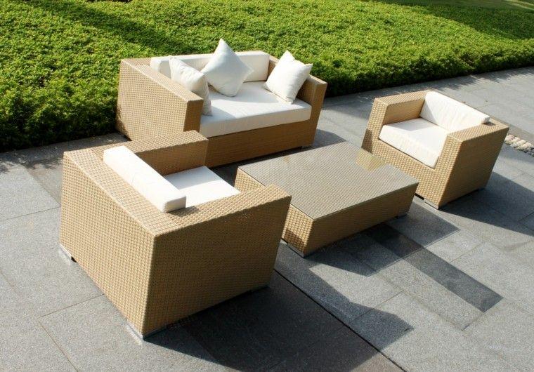 sofa pequena butacas rattan color beige ideas
