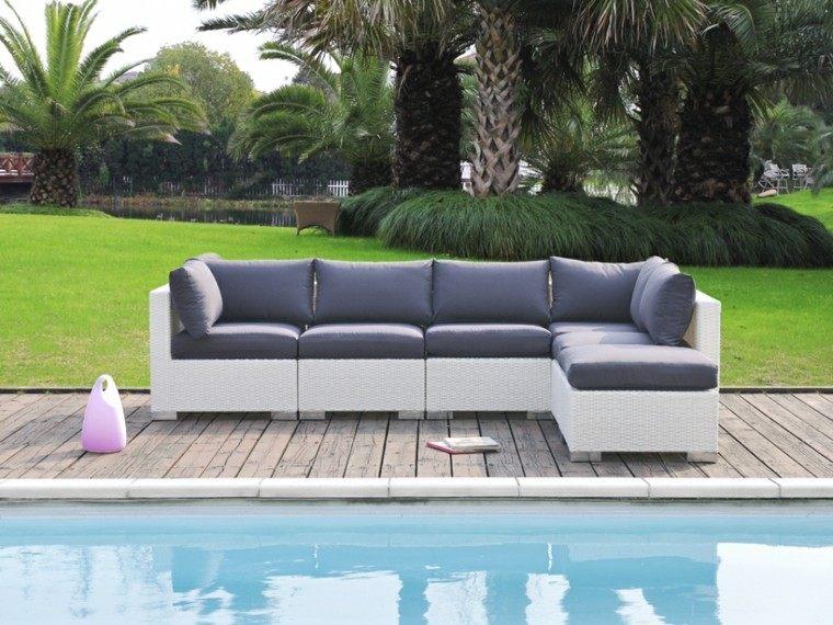 sofa rattan color blanco piscina