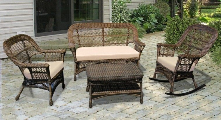 sofa sillas balanceadoras jardin moderno ideas
