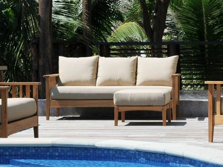 sofa sillones madera jardin piscina ideas