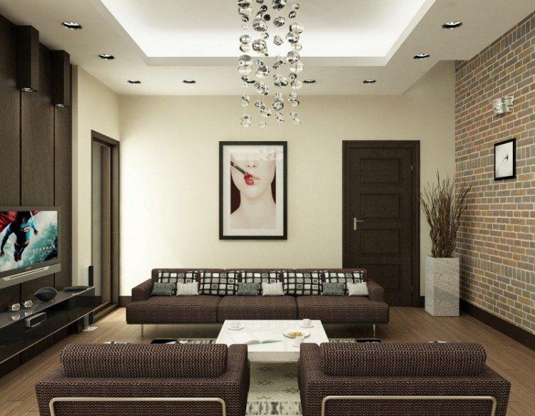 sofa sillones marron cojines cuadro pared salon moderno ideas
