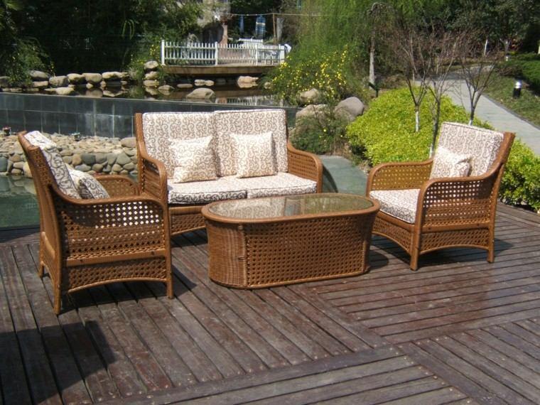 sofa sillones patio suelo madera ideas