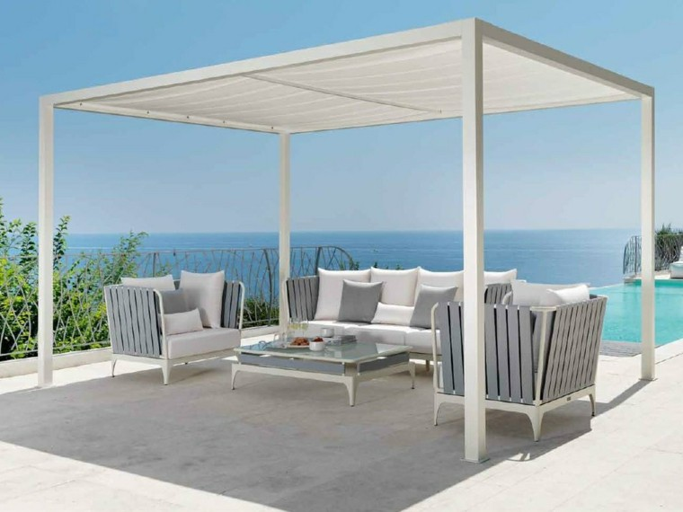 sofa sillones pergola blanca madera jardin ideas